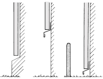 Figur 5:7. Hög eller utskjutande sockel alternativt avbärare skyddar mot påkörningsskador. Illustration: Torbjörn Osterling.