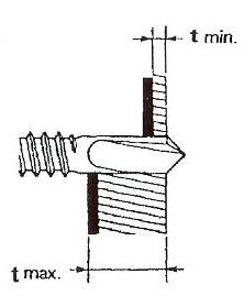 Figur 7:13. Borrkapacitet.(tmin och tmax) Skruvens största borrkapacitet, tmax, avser den totala tjockleken av det infästa materialet och underlaget. Fästdonets minsta kapacitet, tmin, avser minsta tillåtna tjocklek på underlaget.