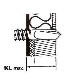 Figur 7:14. Klämlängd (KL). Skruvens klämlängd bestäms av sammanlagda tjockleken på det infästa materialet, eventuellt mellanliggande skikt såsom board eller isolering och underlaget. Vid konstruktioner med mellanliggande isolering är skruven utformad så att borrningen är klar innan gängingrepp sker i det material som ska fästas in.