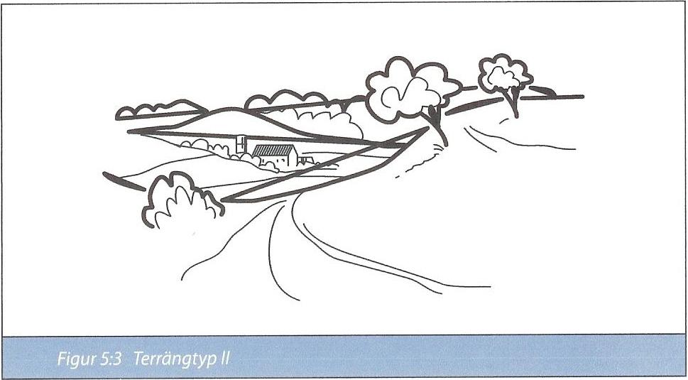 Figur 7:34 c. Terrängtyp II. Område med låg vegetation som gräs och enstaka hinder (träd, byggnader) med minsta inbördes avstånd lika med 20 gånger hindrets höjd.