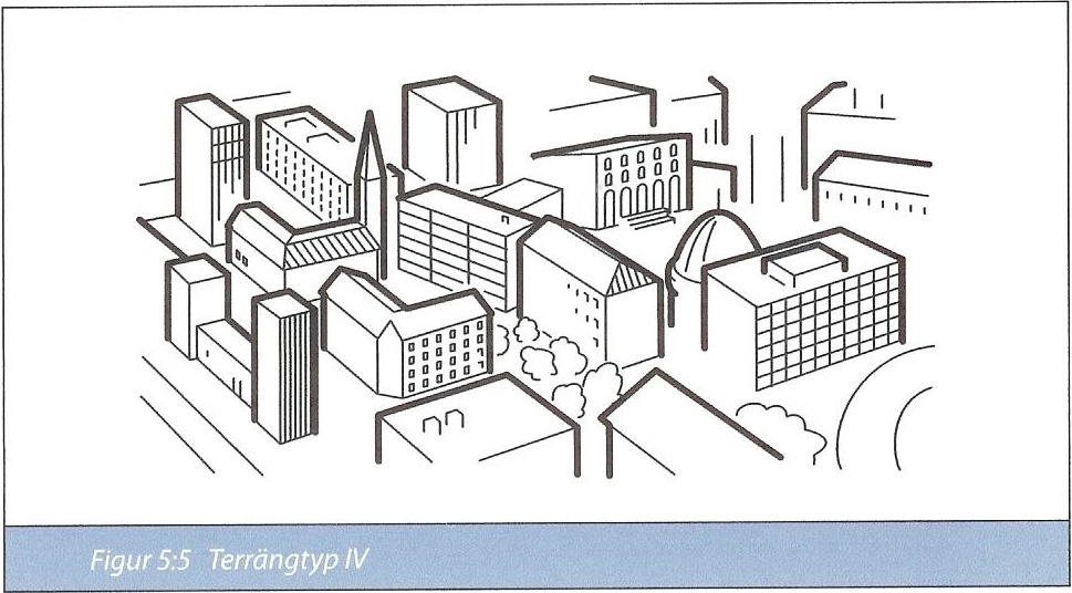 Figur 7:34 e. Terrängtyp IV. Område där minst 15 % av arean är bebyggd och där byggnadernas medelhöjd är > 15 m.