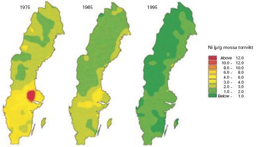 Figur 3:10 b. Nickelhalter i mossa (mg/kg torr substans, TS) vid rikstäckande karteringar 1975 – 1995. Metallhalter i mossa anses ganska väl återspegla nedfallet från luften.