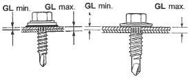 Figur 7:15. Grepplängd (GL). En variant av den borrande skruven används för sammanfogning av sidöverlapp samt infästning av profilerad plåt till tunna plåtläkt, < 1,0 mm. Skruven har ett frisläpp mellan huvud och gänga och klämmer ihop förbandet. Denna skruv ska alltid dras till spinn.