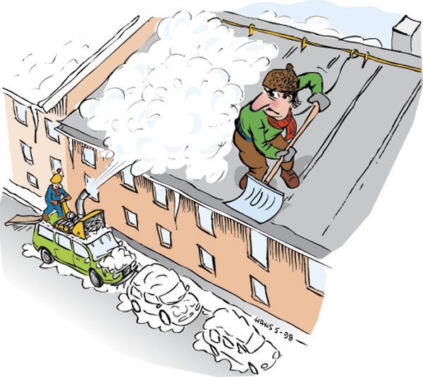 Figur 1:10. Sköter Du taket på samma sätt som bilen? Illustration: Hans Sandqvist, Bildinformation i Älvsjö AB.