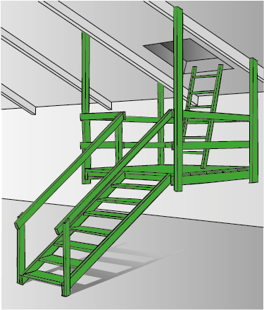 Figur 11:33. Invändig plattform med trappa.