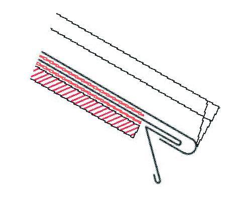 Figur10:12. Avslutning och infästning av taktäckning till språngbleck där det krävs rörelsemån. Enkel rak språngfals.