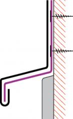 Figur10:49. Kontinuerligt fästbleck. Används som dold infästning av fria plåtkanter.