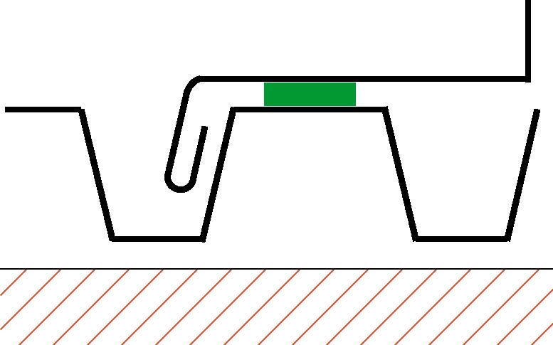 Figur10:59. Vinge över och längs profilerad plåt med tätning.