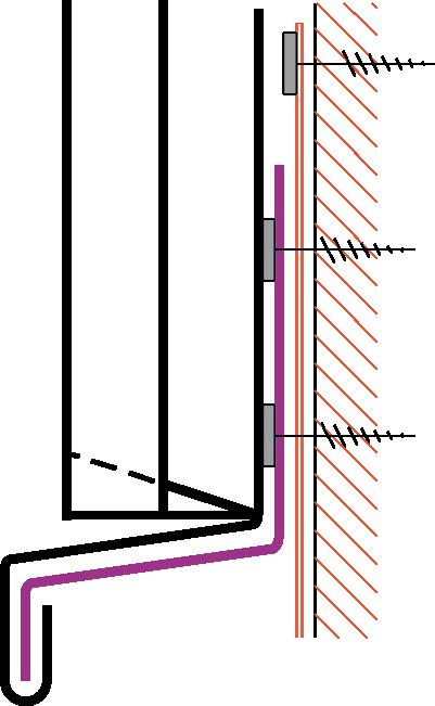 Figur10:71. Avslutning på väggbeklädnad av plåt över tätskiktsmatta eller takduk.