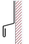 Figur10:10. Utknäckt kant och lodrät droppkant med omslag. Används för att skydda underliggande fasad.