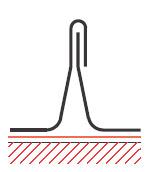Figur10:13. Enkel ståndfals. Används endast vid skivtäckning med stålplåt och taklutning ≥ 18°.