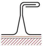 Figur10:16. Stående vinkelfals. Används på vägg för att markera falsindelningen.
