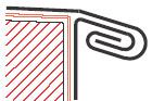 Figur10:30. Dubbel språngfals med ankantning. Används för att sammanfoga taktäckning eller krönbeslag med skyddsbeslag, takfotslist eller sidobeslag. Denna fals ger en starkare sammanfogning än figur 10:29.