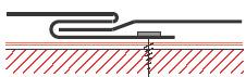 Figur10:33. Slussskarv (med infästning). Används för skarvning av lister och beslag på vertikala ytor där inträngande vatten inte kan förorsaka skador.
