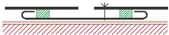 Figur10:35. Listskarv med tätbleck. Används vid skarvar av fönsterbleck och lister av plåtar som inte kan falsas.