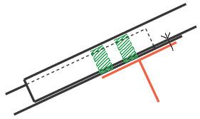 Figur10:41. Rörligt ändöverlapp. Används som tvärgående skarv mellan trapetsprofilerade plåtar på tak där rörelsemån krävs.
