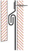 Figur10:55. Uppdragning bakom fasadbeklädnad av träpanel, överläggsplattor eller motsvarande. Infästning görs med klammer i drivvattenhaken.