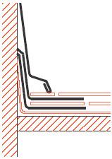 Figur10:68. Inskottsbitar vid skiffertäckning mot vägg.