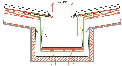 Figur 8:16. Avslutning av taktäckning med rörelsemån mot försänkt ränndal. Exempel på utförande vid titanzinkplåt. Utförandet kan även användas vid andra material. I detta exempel visas också hur inbrädningen vid fotplåten har lagts något lägre för att kompensera den nivåhöjning som fotplåt, fästbleck och även byggpapp ger. Illustration: Rheinzink Sverige.