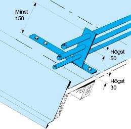 Figur 11:52. Måttkrav enligt standard på snöräcke med rör.