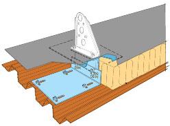 Figur 11:70. Infästningsplåt för isolerade tak. Figur: Weland Stål AB.