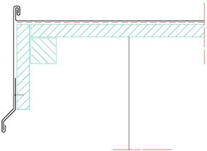 Figur 8:17. Vid hängskivor kan rörelserna tas upp genom att infästningen sker med ett kontinuerligt fästbleck. När taktäckningen rör sig kommer även hängskivan att kunna följa med i rörelserna eftersom den glider mot fästblecket. En genomspikning av hängskivan är i detta läge felaktigt. Illustration: SSAB Tunnplåt AB.