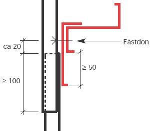 Figur 8:28. Rörligt ändöverlapp på vägg. Notera att upplaget måste vara större jämfört med det som används vid stumt överlapp.