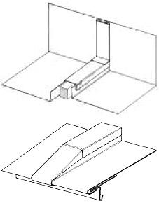 Figur 9:7. Exempel på falsavslutning vid språng och nock vid listtäckning.