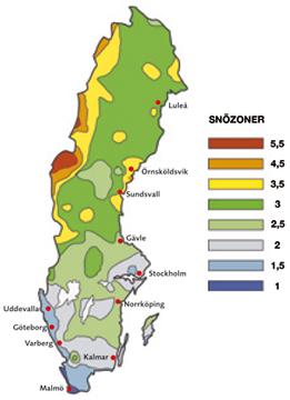 Figur 7:35. Sveriges olika snözoner. Mörkblå zon har lägst snölast medan mörkröd zon hör högst snölast.<br /> <br />
