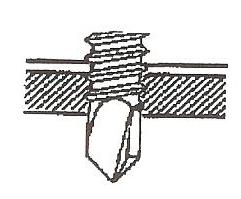 Figur 7:5. Borrspetsen är pressad i samma material som skruven.