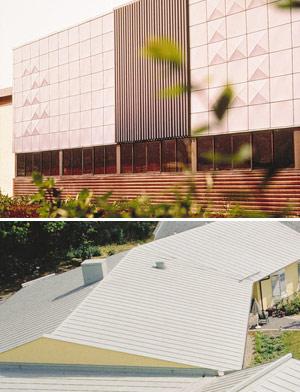 Bild 2:41. På fasader används färgsystem som har god kulörhärdighet medan färgbeläggningar på tak i första hand väljs med hänsyn till höga krav på korrosionshärdighet och tålighet mot nötning och hantering. Foto: SSAB Tunnplåt AB.