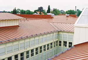 Bild 2:5. Förzinkad och industriellt färgbelagd stålplåt är ett hållbart takmaterial. Foto: Torbjörn Osterling.