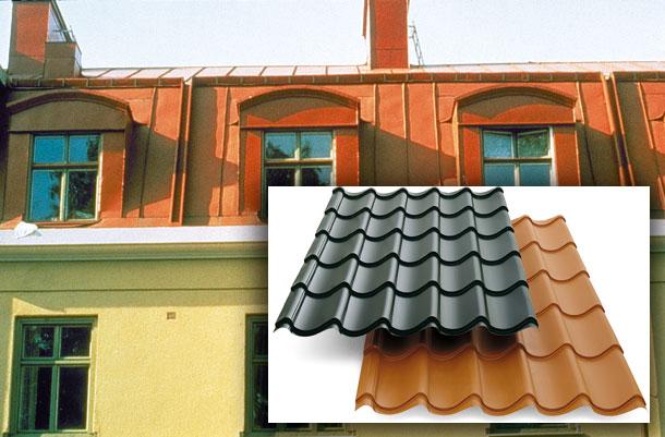 Bild 3:5 Exempel på fabriksmålad plåt. Källa: SSAB Europe AB och Plannja AB.