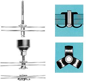 Figur 7:22. Klämnitens funktion. Lämplig vid sammanfogning av plåtar med stort spaltavstånd.
