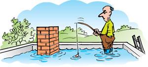 Figur 1:2. Olämplig utformning av taket kan leda till att vatten rinner in i huset i stället för bort från huset. Illustration: Hans Sandqvist.