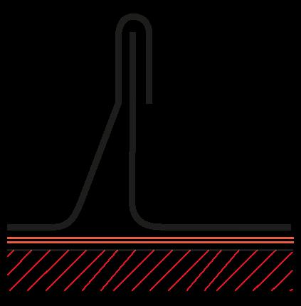Figur10:14. Enkel ståndfals. Används endast vid skivtäckning med stålplåt och taklutning ≥ 18°.