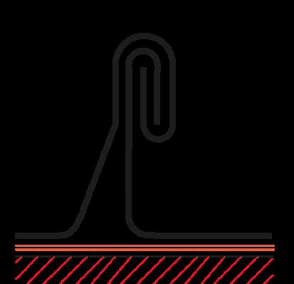 Figur10:13. Dubbel ståndfals. Används vid alla bandtäckningar samt vid dubbelfalsade skivtäckningar.