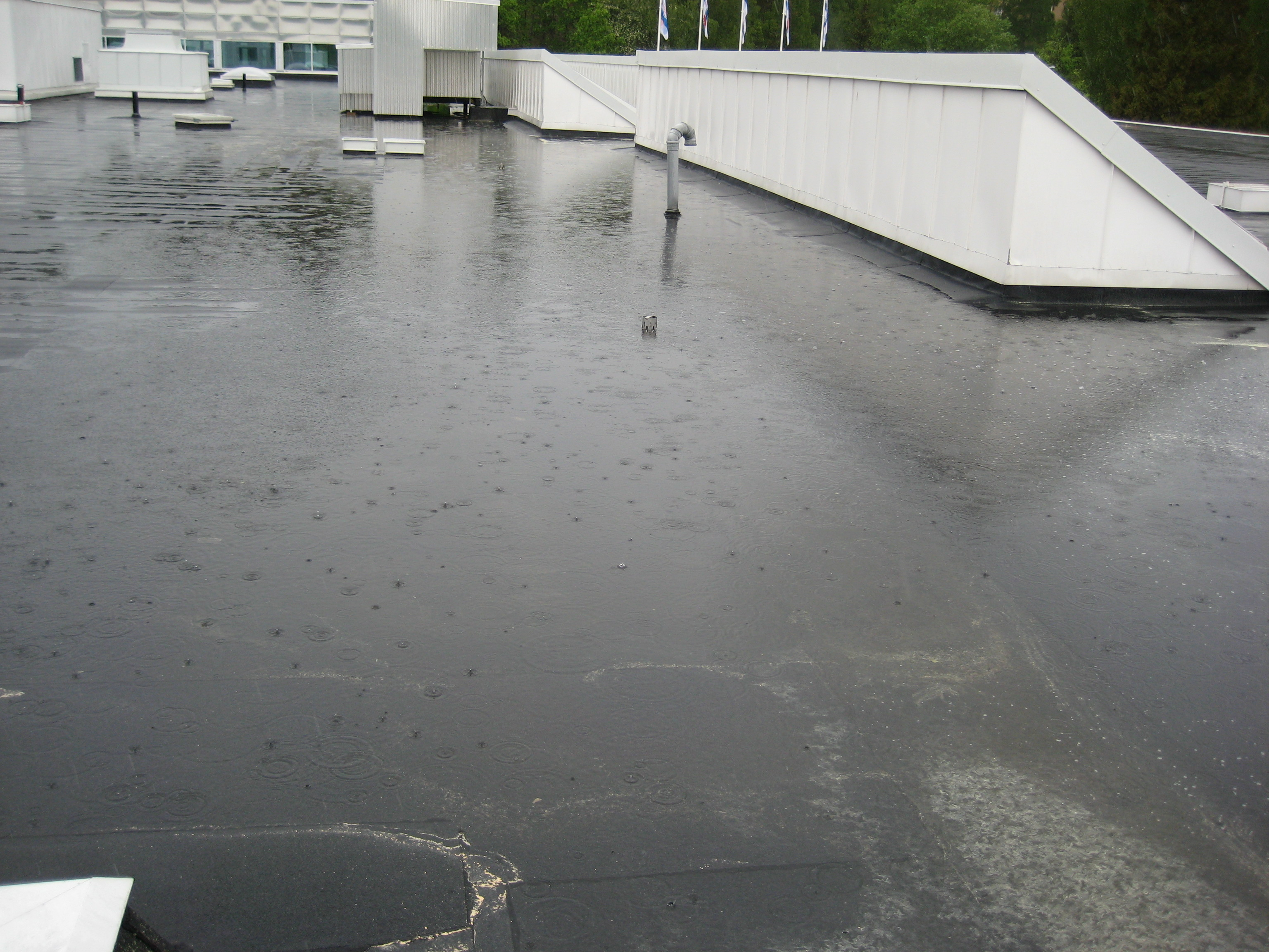 Bild 12:13. Igensatta brunnar ger stora påkänningar på takmaterialet. Foto: Torbjörn Osterling.