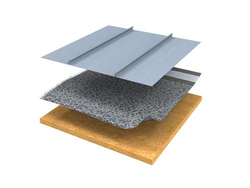 Bild 6:10. Under titanzinkplåt används vid taklutningar under 1:5 (11,3 grader) en särskild typ av ventilerande matta. På marknaden finns olika typer av mattor. Foto: Rheinzink.