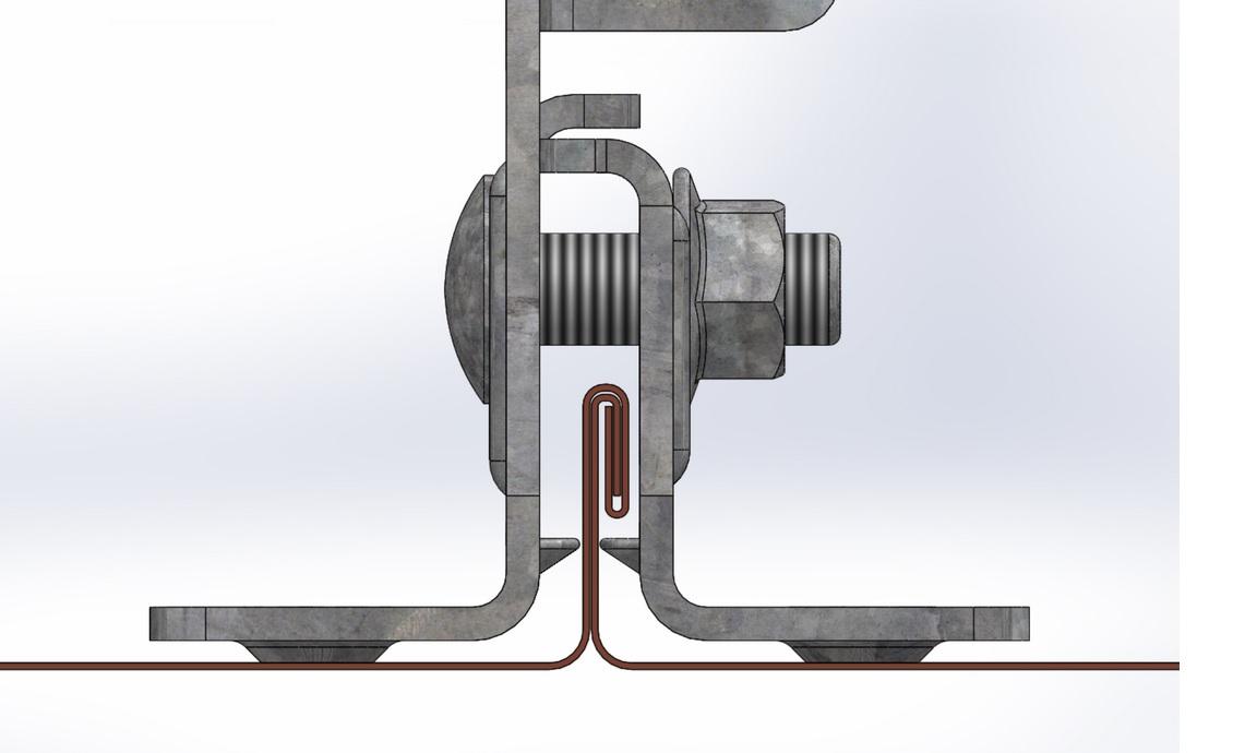 Figur 11:71. Sektion av falsfäste i 0,6 mm plåt. . Figur: Weland Stål AB.