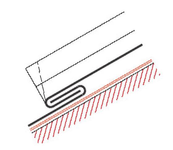 """Figur10:19. Enkel tvärgående hakfals """"Anslutningsfals"""". Används vid enkelfalsad täckning för anslutning till ståndskivor, kringtäckningar, fotrännor med mera."""