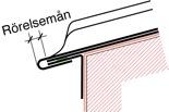 Figur10:26. Enkel språngfals med rörelsemån för rostfri plåt. Figuren visar en fotplåt som sömsvetsats till rännplåten.