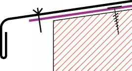Figur10:50. Fästbleck med nit. Används företrädesvis vid infästning av lister och bleck på fasader.