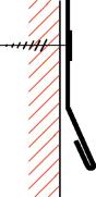 Figur10:52. Synlig infästning med skruv. Används där det inte finns risk för att inträngande vatten förorsakar skador.