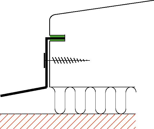 Figur10:56. Inslagskant i spår. Används som anslutning mellan plåt och trä.