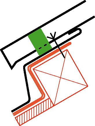 Figur10:63. Anslutning av profilerad plåt till vinkelränna eller ränndal där underlagstak saknas.
