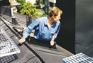Bild 12:2. Underhåll och kontroll av tak kan inte göras genom att enbart titta ut från takluckan. Foto: Torbjörn Osterling.