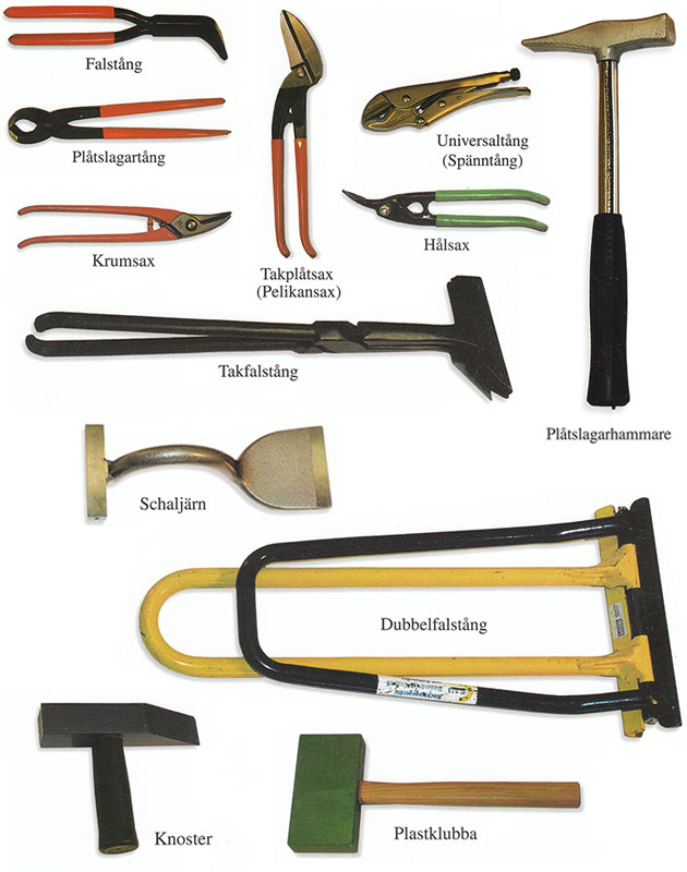 Bild 9:23. De vanligast förekommande handverktygen.