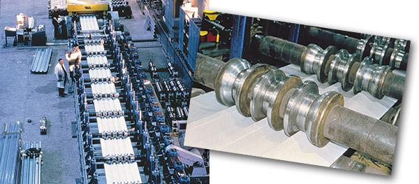 Bild 9:8. Rullformning av plan plåt till profilerad plåt. Foto SSAB.