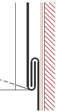 Figur10:20. Enkel tvärgående hakfals mellan dubbel eller enkelfalsad väggbeklädnad och ståndskiva. Figuren visar en knuten ståndfals på väggbeklädnaden.